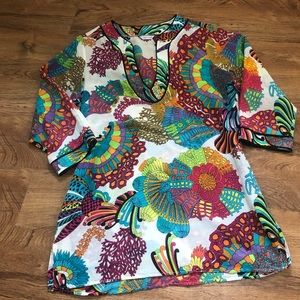 Trina Turk Colorful Printed Silk Tunic Blouse M
